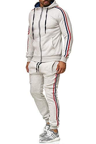 Tazzio Herren Sportanzug Jogginganzug Trainingsanzug Sporthose&Hoodie18221 Grau L