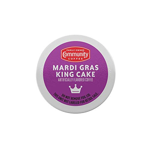 Community Coffee Mardi Gras King Cake Flavored Medium Roast Single Serve K-Cup Coffee Pod, Box of 18 Pods