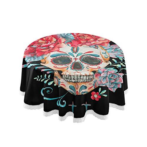 Bardic FELIZM Mantel redondo con diseño de calavera de azúcar, diseño de cactus, para mesa de comedor, 152 x 152 cm