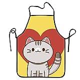 Eastlif Cute Love Cat Delantal Babero de Cocina Unisex con para cocinar Hornear...