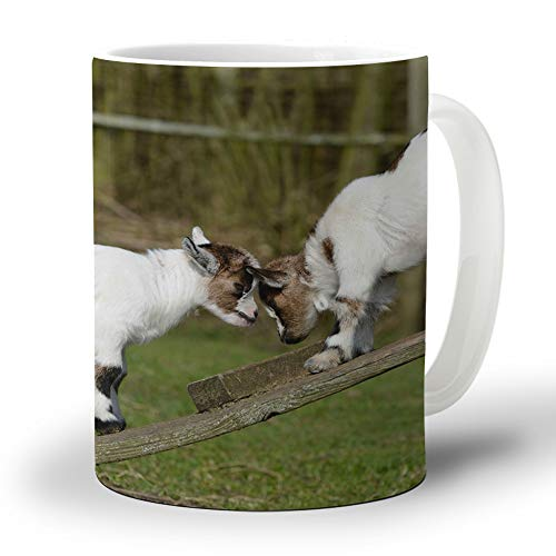 Ceramic Coffee Mug 12 Oz Horny Goat and Puppy Large Handles Cup for Tea/Milk/Cocoa| Home and Office Use| Gift for Man/Women