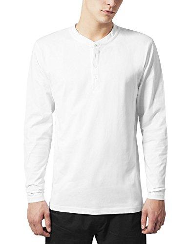 Urban Classics Basic Henley L/S Tee Sweat-Shirt, Weiß (White 220), X-Small Homme