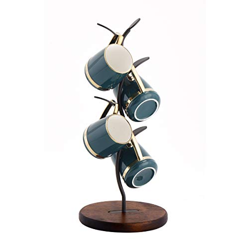 Mug Holder, Coffee Cup Holder &Countertop Mug Tree Have Attractive Design , Wooden Base Cup Holder Stand