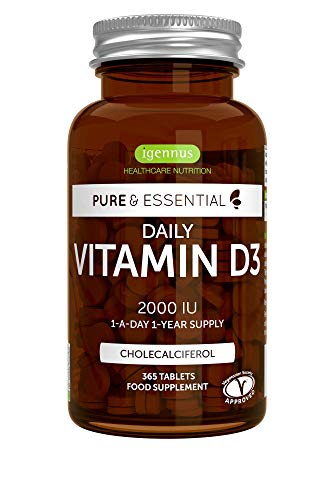 Pure & Essential Vitamine D3 Quotidienne 2000iu Cholécalciférol, 1 par jour, 1 an d'approvisionnement, végétarien, 365 petits comprimés