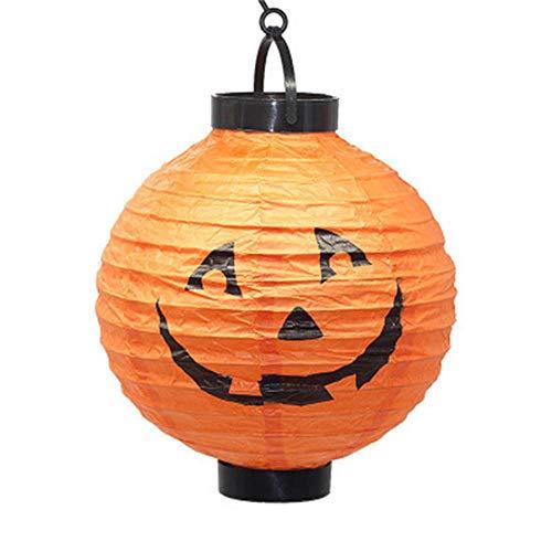 Led Illuminated Paper Lantern With Lights Halloween Pumpkin Skull Horror Lantern Hanging Lamp For Home Garden Halloween Decor,D,Stretching 22 X 21Cm