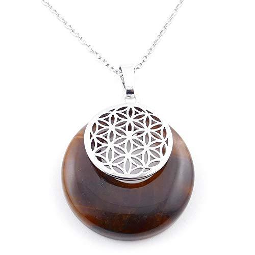 ARITZI - Colgante Natural de Distintas Piedras con símbolo esotérico en bisutería de Metal - Cadena incluida de Acero Inoxidable (50cm)