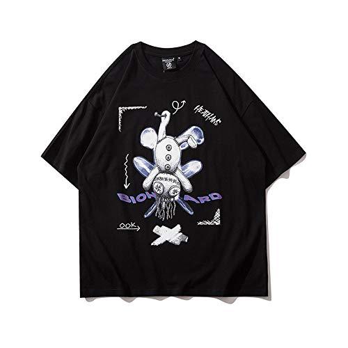 DREAMING-Una Sudadera De Verano De Manga Corta con Una Camiseta De Algodón De Cuello Redondo Estampada Suelta para Hombres Y Mujeres Black Small