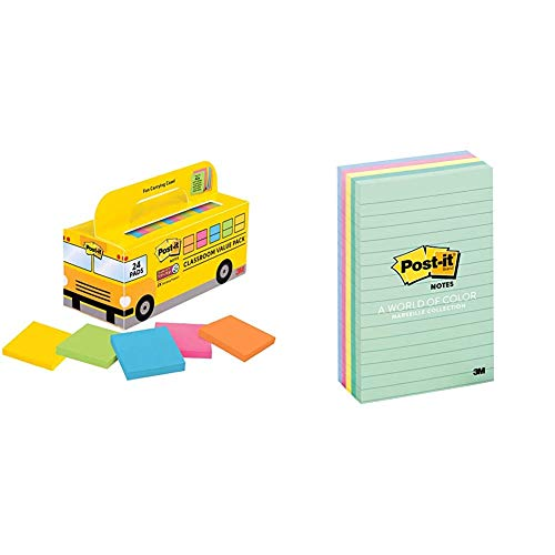 Post-it Super Sticky Notes & Notes, 4 in x 6 in, 5 Pads, America's #1 Favorite Sticky Notes, Marseille Collection, Pastel Colors (Pink, Mint, Yellow), Recyclable (660-5PK-AST)