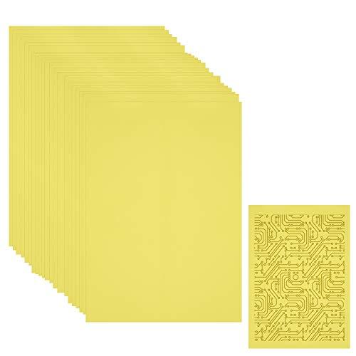 PERFETSELL 100-Pack-Blatt-Transferpapier im A4-Format Lasertransferpapier Leiterplatten-Druckpapier Thermotransferpapier Wärmeübertragungspapier Gelbes Transferpapier Bügelpapier Druckschaltungen