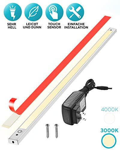 60cm LED Unterbauleuchte 3000K, Sensor Switch, flach, überall montieren, aufkleben, Inklusive Alle Zubehör, LED Nachtlicht, kühles Weiß, Neutralweiß
