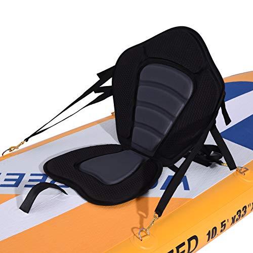 CosHall Sedile Kayak, Sedile Gonfiabile Regolabile Kayak SUP, Sedile Paddle Board, con Cinghie Regolabili e 4 Ganci a Molla in Metallo Stabile per Tutti i SUP, Kayak, Barche a Remi, ECC.