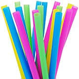 ALINK 100 Extra Large Plastic Bubble Tea Smoothie Milkshake Straws, 1/2' Wide X 8 1/2' Long Wide...