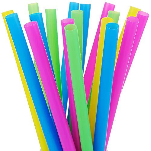 "ALINK 100 Extra Large Plastic Bubble Tea Smoothie Milkshake Straws, 1/2"" Wide X 8 1/2"" Long Wide Boba Straws"
