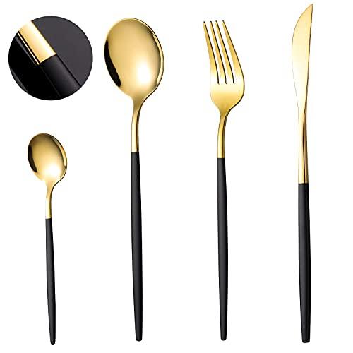 COPOTI - Cubiertos negros y dorados, mango negro, 24 piezas, juego de cuchara, tenedor y cuchillo, elegante, 6 personas, vajilla apta para lavavajillas, con caja de regalo