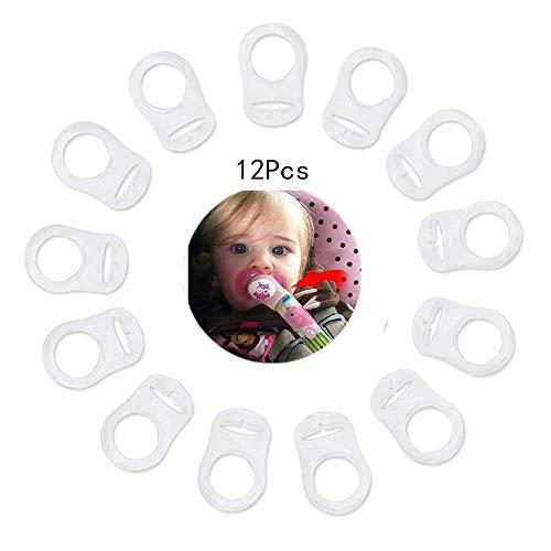 VOARGE 12 Stück Silikonring für Schnullerkette, Baby Silikonring Schnullerhalter für Schnullerketten Transparent Weiche Silikon Baby Dummy Schnuller Clips Halterungen Transparent