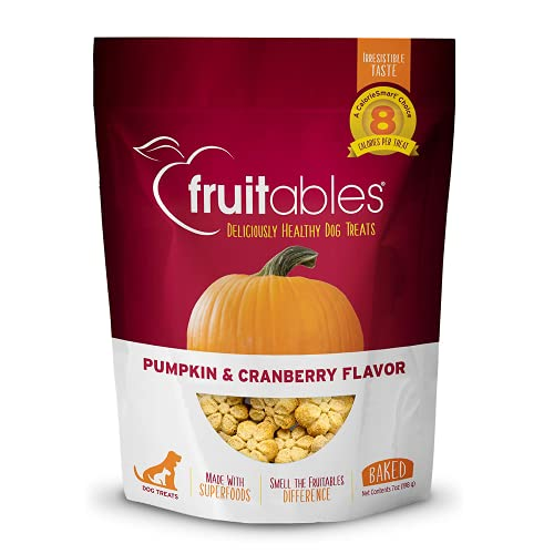 Fruitables Baked Dog Treats   Pumpkin Treats for Dogs   Healthy Low Calorie Treats   Free of Wheat, Corn and Soy   Pumpkin and Cranberry   7 Ounces