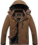 MAGCOMSEN Snow Jacket Men Waterproof Jacket Snowboarding Jacket Ski Jacket Skiing Jacket Winter Coat for Men Windbreaker Mens Parka Brown