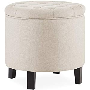 Perfect for small spaces, this ottoman is a fun addition to any room in your home Nail-heads and a unique round shape offers a bit of contemporary glamour to any room Removable top and storage space for toys, storing blankets or magazines Can be used...