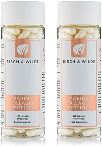 Birch & Wilde Marine Collagen Peptides 1200mg x 60 Day Supply (120 Capsules) — Hydrolysed Collagen for Healthy Skin, Hair, Nails, Bones & Joints