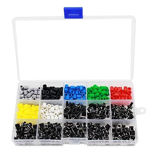 ZSM Sensores e interruptores Cambio de pulsador táctil Mini Mini Kit de Surtido de Tacto momentáneo con Tapas de botón Coloridos 420 PCS (Caps de botón de Interruptor 420 PCS) Piezas de automóviles