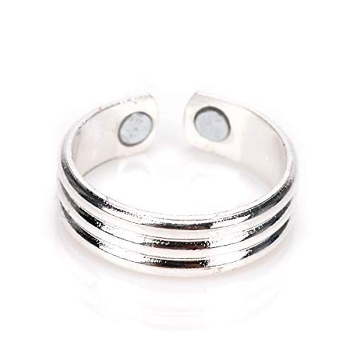 Copper Magnetic Therapy Ring - Magnetic Ring Copper Arthritis Aid Therapy Pain Healing Health Adjustable Size (Silver)