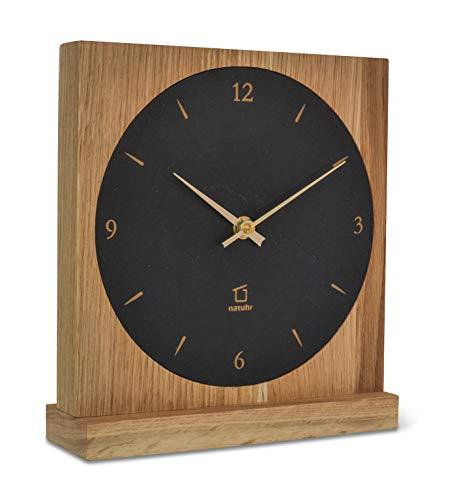 Natuhr Ortler - Reloj de mesa (silencioso, madera de roble y pizarra)