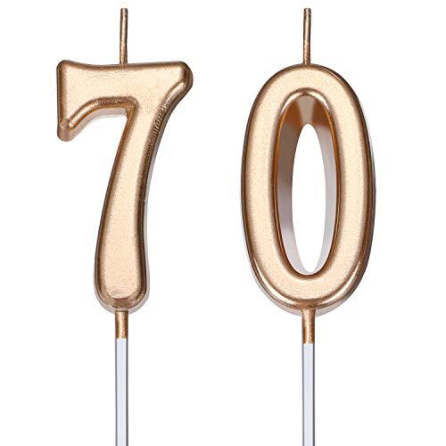 Velas de Cumpleaños 70 Velas de Numeros de Pastel Topper Decoración de Pastel de Feliz Cumpleaños para Fiesta de Cumpleaños Boda Aniversario Celebración (Dorado Champagne)