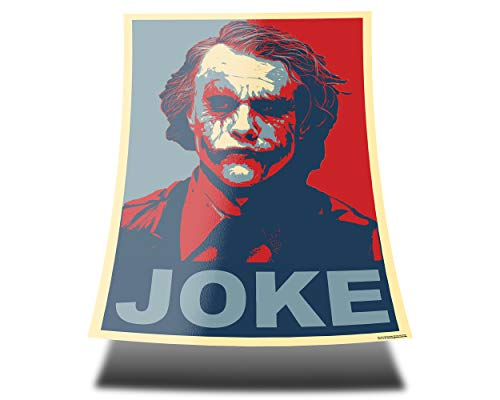 GREAT ART Red and Blue Poster Heath Ledger mit Schriftzug Joke – A1 84,1 x 59,4 cm – Wandposter Joker Batman The Dark Knight why so serious Wandbild Filmposter Comic Charakter Schauspieler