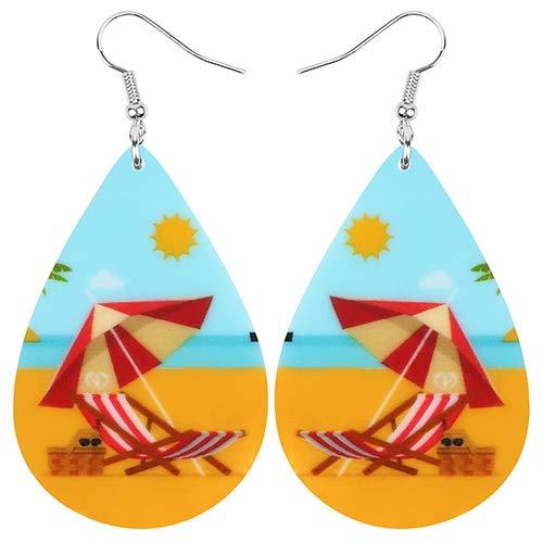 AdronQ Pendientes De Clip Aros Acrylicteardrop Sunshine Parasol Silla De Playa Pendientes Drop Dangle Jewelry For
