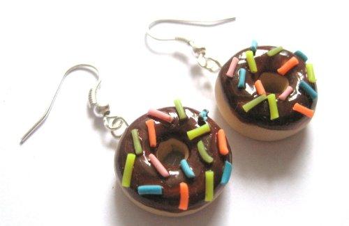 Donut Ohrringe Ohrschmuck Schoko bunt