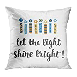 Moladika Throw Pillow Cover Square 18 x 18 Inch Hanukkah Let Light Shine Bright Greeting Cushion Home Decor Living Room Sofa Bedroom Office Polyester Pillowcase