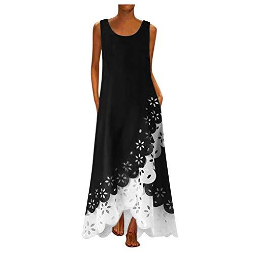 POTO Women Maxi Dresses Summer Boho Sleeveless Tank Dress Vintage Casual Beach Kaftan Swing Long Dresses with Pockets