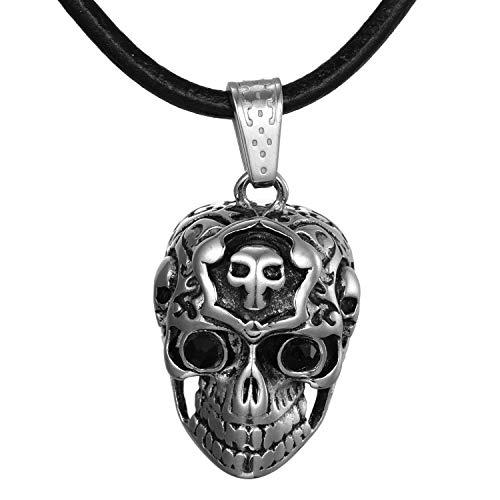DonDon Collar de Cuero 50 cm para Hombre y Colgante Calavera de Acero Inoxidable en Bolsa de Regalo