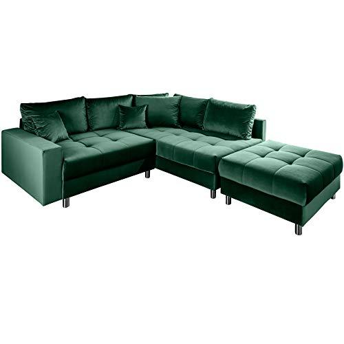 Invicta Interior Elegante Ecksofa Kent 220cm grün Samt Federkern inkl. Hocker und Kissen Eckcouch Wohnlandschaft