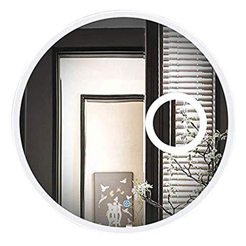 LIXIAOLIANSD Specchio per Il Trucco Tondo LED Illuminato Bagno Moderna a Parete Vanity con luci 3X Magnifier Tocco Interruttore (Size : Ø80CM)