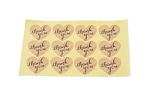 Whyyudan Decorazione 60pcs / Set Cuore Grazie Etichette di Carta Kraft di Carta per Favore Matrimonio Grazie Carta