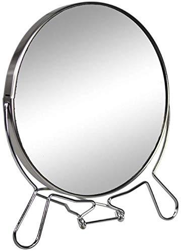 specchio trucco zoom Vetrineinrete® Specchio cosmetico da Trucco con Zoom Regolabile Specchio di ingrandimento Portatile per Barba rasatura Girevole da Tavolo ø 17 cm in Acciaio Cromato 07094 M17