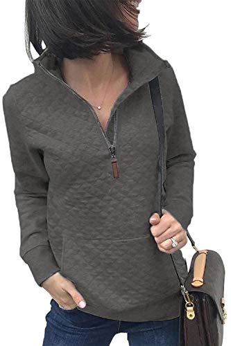 BTFBM Women Fashion Quilted Pattern Lightweight Zipper Long Sleeve Plain Casual Ladies Sweatshirts Pullovers Shirts Tops (Dark Grey, Medium)