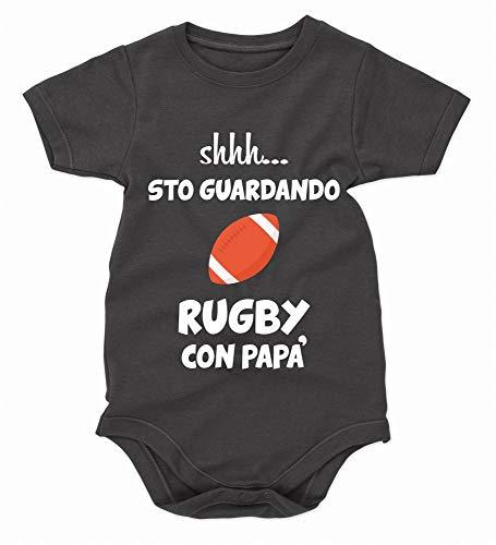 bubbleshirt Body Neonato Divertenti Shhh. STO Guardando Rugby con papà - Festa del papà - Idea Regalo