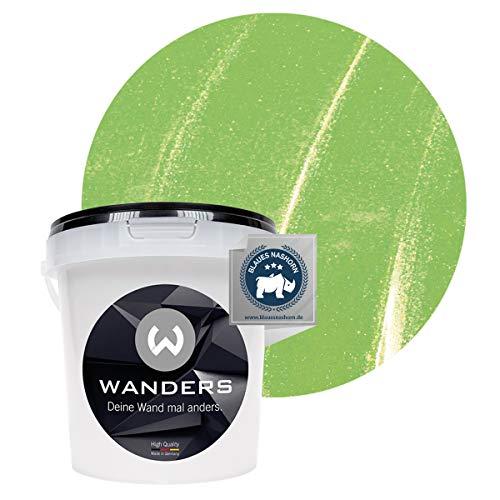 Wanders24® Metall-Optik (1 Liter, Hellgrün) Wandfarbe Metallic - zum Spachteln im Metallic Look - in 17 edlen Farbtönen erhältlich - Made in Germany