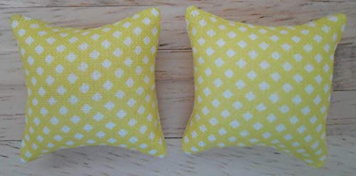 1//24th Scale Dolls House Printed Fabric Cushions Leaves Pattern in Shades of Green