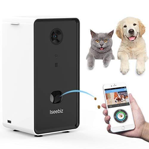 Iseebiz Full HD WiFi Haustierkamera mit Snack-Ausgabe, Multifunktionaler Spender Hundekamera, Heimtierkameras mit 2-Wege-Audio und Nachtsicht, Hundekamera Kompatibel mit Alexa