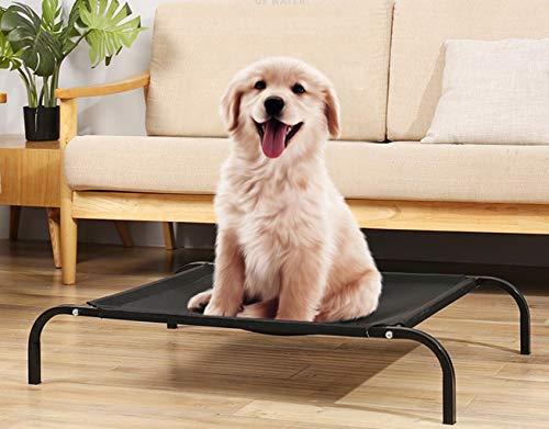 Cama Malla para Perros Gatos,102 X 69 X 20CM, Camas para Domir Relajar Exterior Terraza Jardín Verano de Ventilación… (L, Negro)