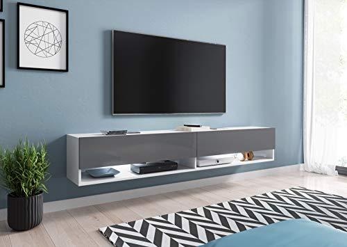 Mueble DE TV A 180 CM, Mueble BAJO TELEVISIÓN, Color Gris/Blanco Brillo