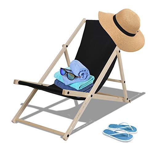 TolleTour Holz Liegestuhl klappbar Gartenliege atmungsaktiv Strandliege für den Garten, Terrasse und Balkon 120 kg max.(Schwarz)