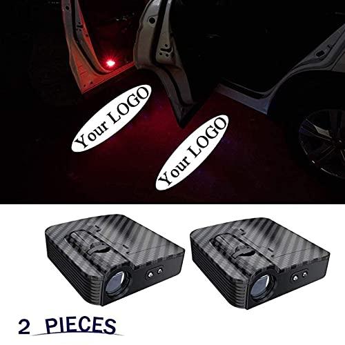 YCHCDR 2 szt. niestandardowe logo bezprzewodowy projektor drzwi samochodu wejście oświetlenie powitalne puddle duch cień światła LED - akceptuj niestandardowe dowolne logo (kolor: włókno węglowe)