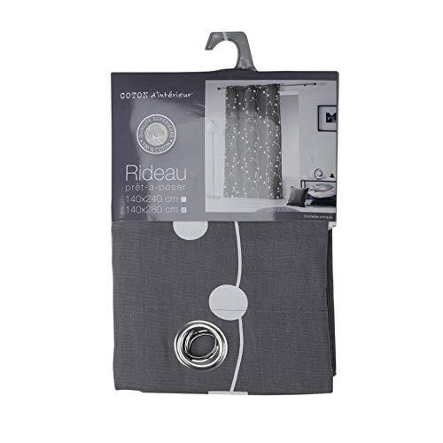 Coton D'Intérieur, tenda con occhielli con campanelli, Cotone, grigio, 140 x 280 cm