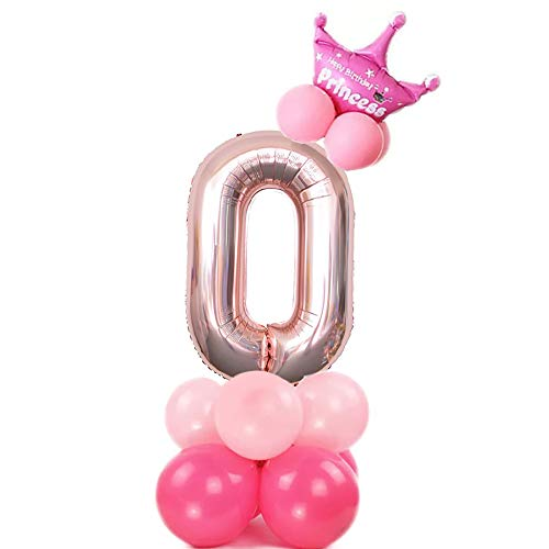 JinSu Compleanno Decorazioni per Ragazza Bambine, 13 Pezzi Decorazioni Compleanno con Palloncino di Corona e Palloncini in Lattice per Decorazioni Compleanno (Rosa 0)