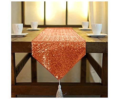 ShinyBeauty, runner da tavola con nappe e paillettes, 30 x 220 cm, runner da tavola con sequenza arancione, decorazioni per compleanni, Natale, runner da tavola da 200 cm di lunghezza