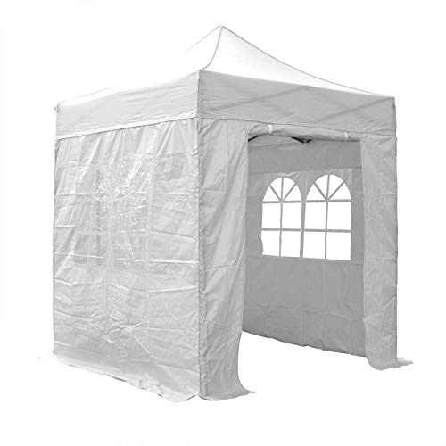 AIRWAVE Pop Up Gazebo 2x2m Waterproof Canopy Marquee Tent Outdoor Shelter with Four Side Panels and Carry Bag for Garden Party Outdoor Event (White)